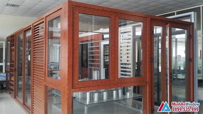 Cửa nhôm PMA giả gỗ cao cấp - Minh An Window đã thi công