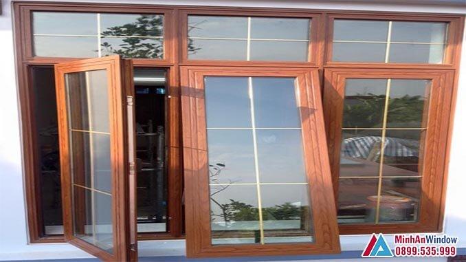 Cửa sổ nhôm kính vân gỗ PMA - Minh An Window đã thi công