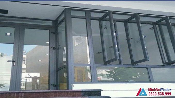 Cửa kính kết hợp vách kính khung nhôm PMA cao cấp - Minh An Window đã thi công