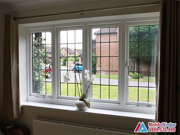 Cửa sổ nhôm kính 4 cánh đẹp cho phòng khách - Minh An Window đã thi công