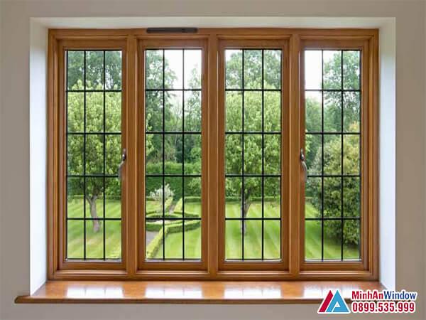 Cửa sổ nhôm kính 4 cánh vân gỗ cao cấp chất lượng - Minh An Window đã thi công