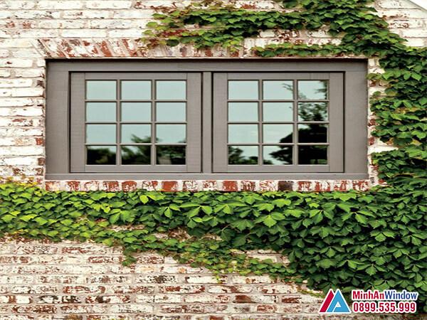 Cửa sổ nhôm kính 2 cánh chia ô kính cường lực chống nắng - Minh An Window đã thi công