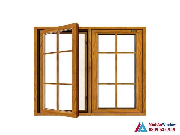 Cửa sổ nhôm kính 2 cánh vân gỗ cao cấp - Minh An Window đã thi công