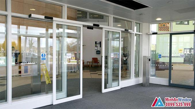 Cửa Tự Động Cánh Trượt Khung Nhôm Cao Cấp - Minh An Window Đã Thi Công