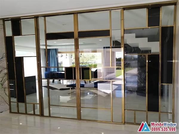 Cửa kính khung inox mạ vàng