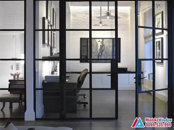Cửa kính khung sắt cao cấp chất lượng cho phòng làm việc - Minh An Window đã thi công