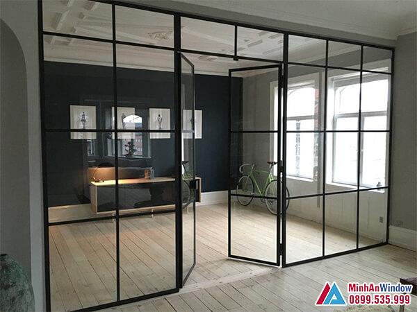 Cửa kính cường lực khung sắt sơn tĩnh điện - Minh An Window đã thi công