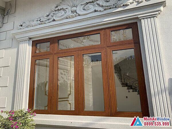 Mẫu Cửa sổ Xingfa vân gỗ 4 cánh cao cấp chất lượng - Minh An Window đã thi công