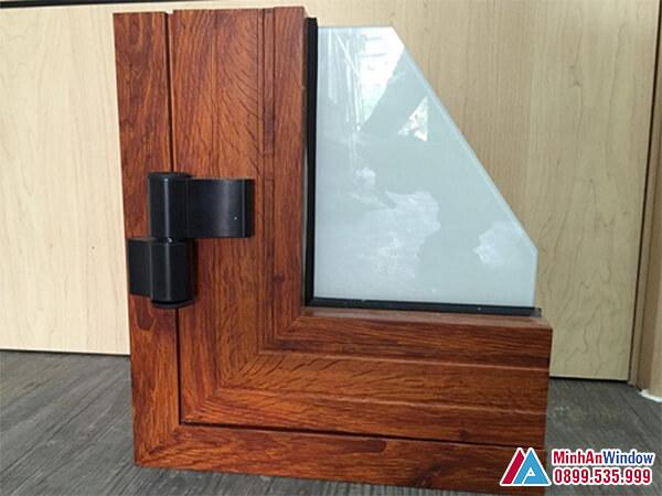 Mẫu Cửa nhôm Xingfa Vân gỗ kính mờ cao cấp - Minh An Window cung cấp và lắp đặt