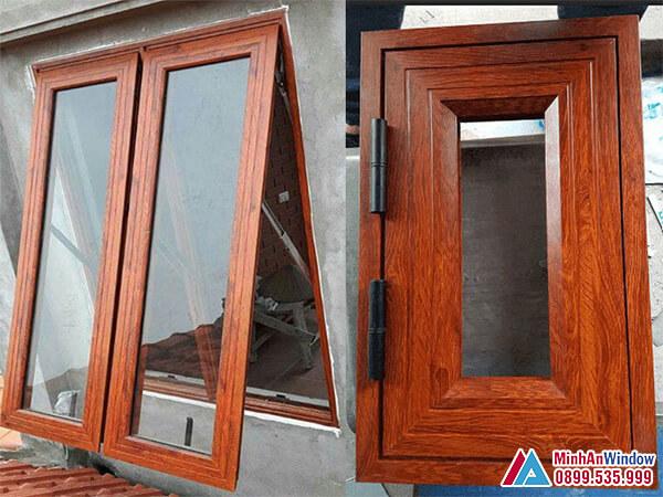 Mẫu cửa sổ cửa nhôm Xingfa vân gỗ mở hất cao cấp - Minh An Window đã thi công