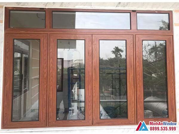 Cửa sổ cửa nhôm Xingfa vân gỗ 4 cánh - Minh An Window đã thi công