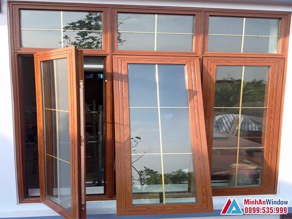 Cửa sổ nhôm Xingfa vân gỗ cao cấp - Minh An Window đã thi công