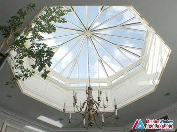 Mái kính giếng trời khung nhôm cách điệu mẫu mới - Minh An Window đã thi công