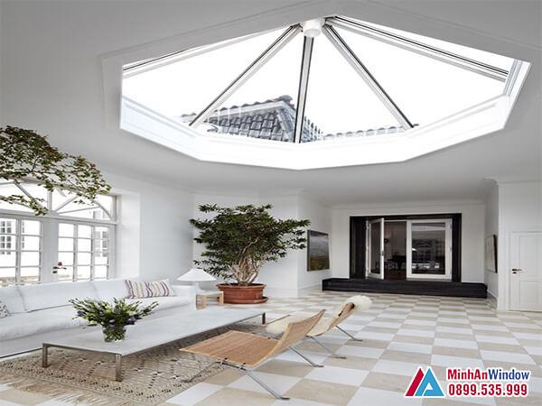 Mái kính giếng trời hình nón cao cấp cho phòng khách biệt thự - Minh An Window đã thi công