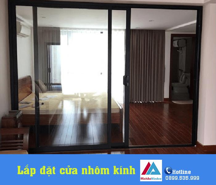 Mẫu cửa trượt nhôm kính phòng ngủ do Minh An Window lắp đặt tỉnh Thanh Hóa