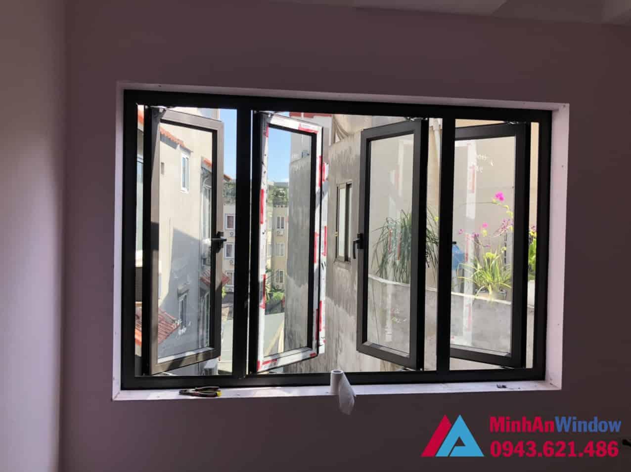 Mẫu cửa sổ nhôm kính 4 cánh mở quay tại Sơn La do Minh An Window lắp đặt