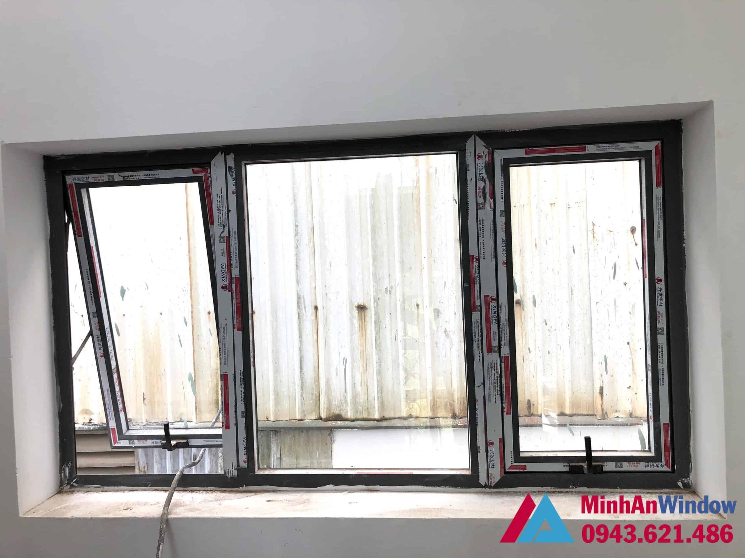 Mẫu cửa sổ nhôm kính 3 cánh Minh An Window lắp đặt tại huyện Ba Vì