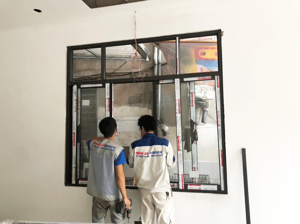 Mẫu cửa sổ nhôm kính do nhân viên của Minh An Window lắp đặt tại huyện Mê Linh - Hà Nội