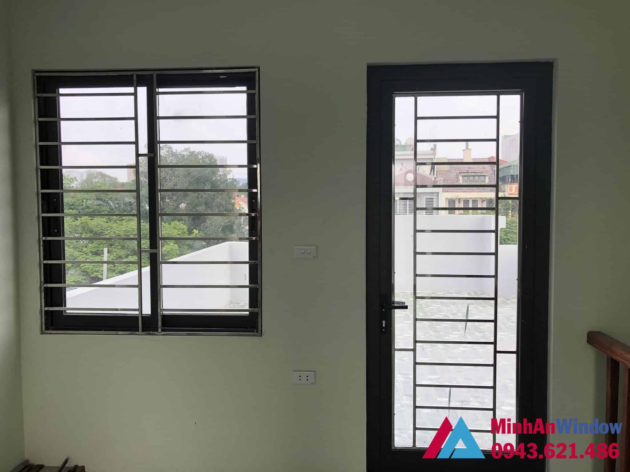 Mẫu cửa sổ và cửa đi nhôm kính Minh An Window lắp đặt tại huyện Mê Linh - Hà Nội