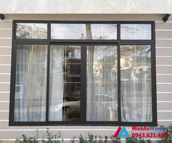 Mẫu cửa sổ nhôm kính có nan trang trí Minh An Window lắp đặt cho khách hàng tại Phú Thọ
