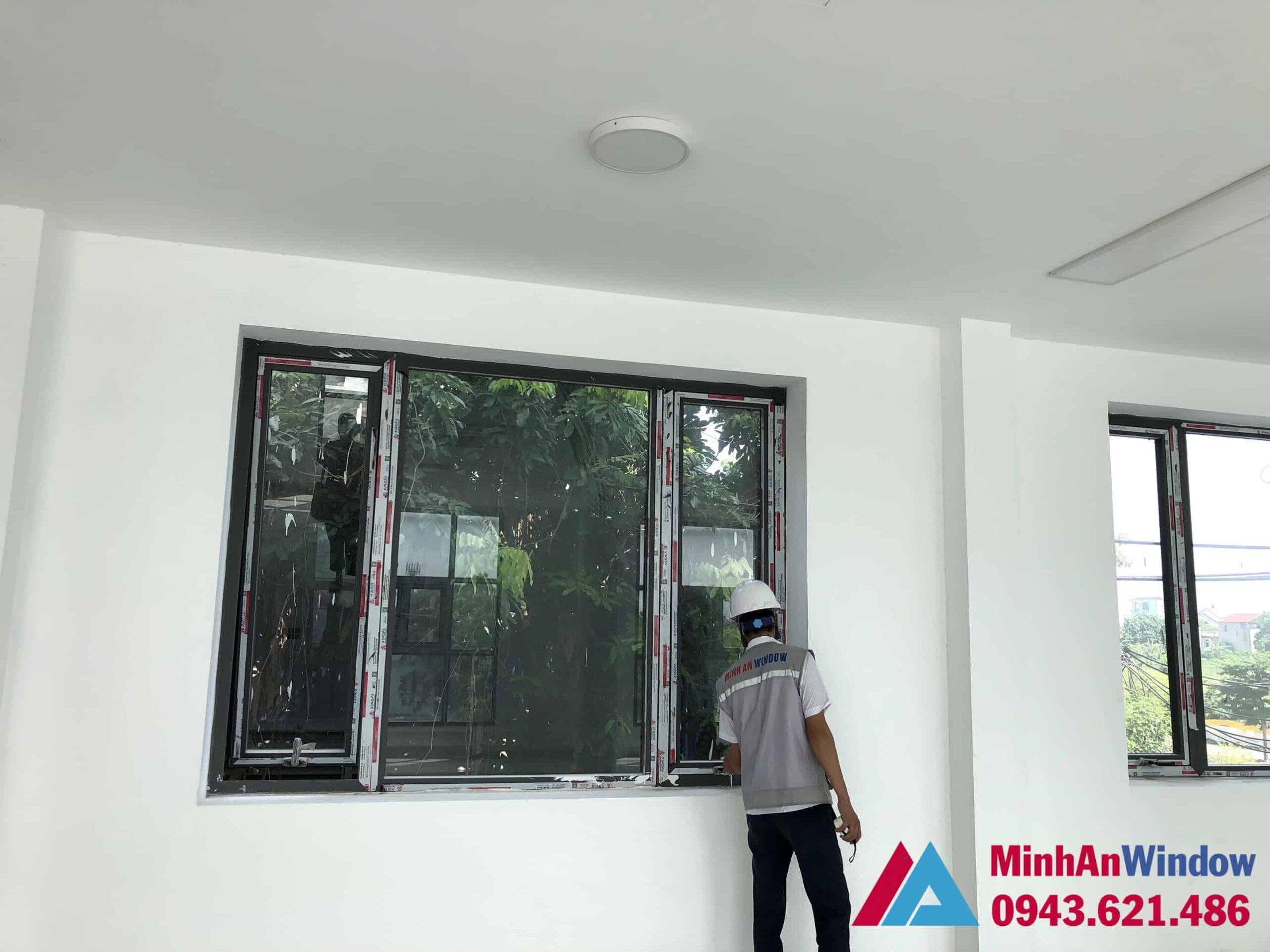Mẫu cửa sổ nhôm kính tại KCN Thạch Thất - Hà Nội do Minh An Window lắp đặt