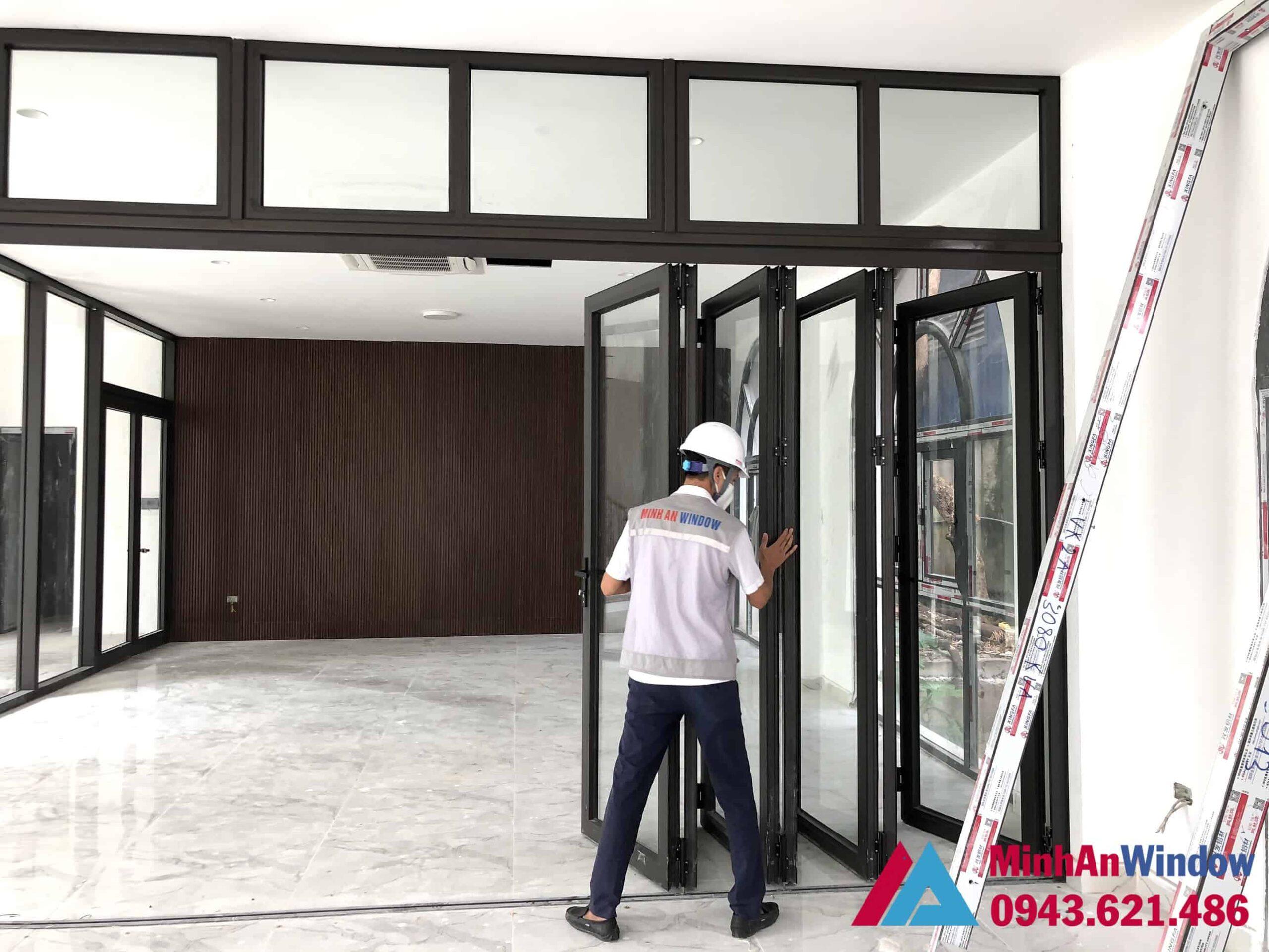 Mẫu cửa nhôm kính xếp gấp tại KCN Thạch Thất - Hà Nội do Minh An Window lắp đặt