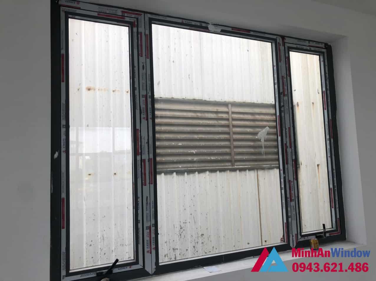 Mẫu cửa sổ nhôm kính 3 cánh Minh An Window lắp đặt cho nhà ở tại quận Nam Từ Liêm - Hà Nội