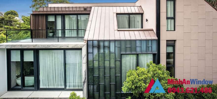Minh An Window lắp đặt cửa nhôm kính cho nhà biệt thự tại Thái Nguyên