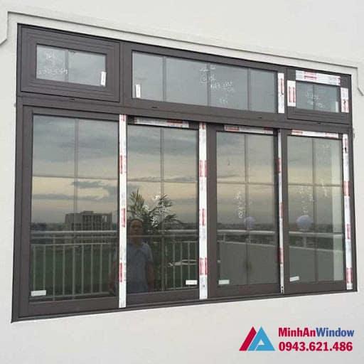 Mẫu cửa sổ nhôm kính Xingfa tại KCN Thạch Thất - Hà Nội Minh An Window lắp đặt