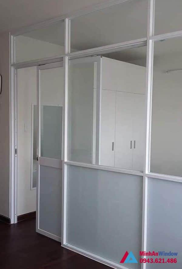 Mẫu cửa đi nhôm kính tại KCN Phụng Hiệp - Thạch Thất - Hà Nội do Minh An Window lắp đặt