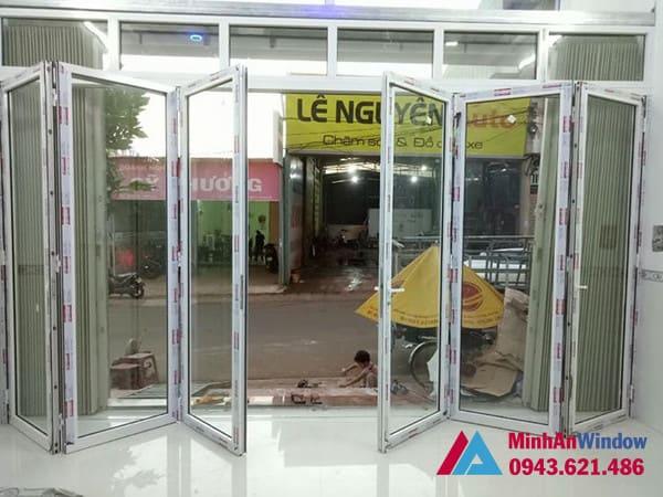 Mẫu cửa nhôm kính xếp gấp  Minh An Window lắp đặt cho khách hàng tại huyện Mỹ Đức