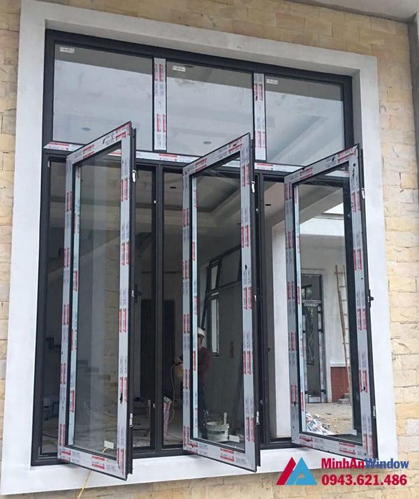 Mẫu cửa sổ nhôm kính mở quay Minh An Window lắp đặt cho khách hàng tại huyện Thanh Trì