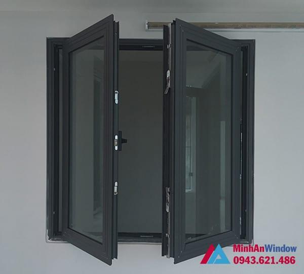 Mẫu cửa sổ nhôm kính mở quay 2 cánh Minh An Window lắp đặt cho khách hàng tại huyện Thanh Trì