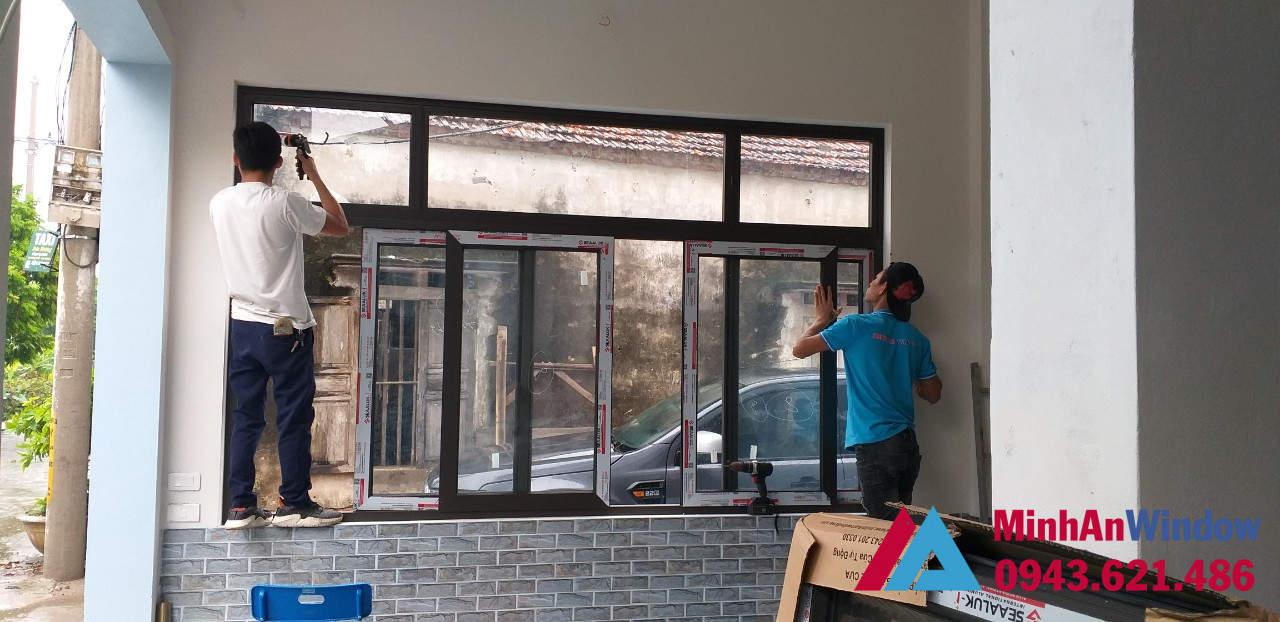 Mẫu cửa sổ nhôm kính bền đẹp tại KCN Thạch Thất Quốc Oai do Minh An Window lắp đặt