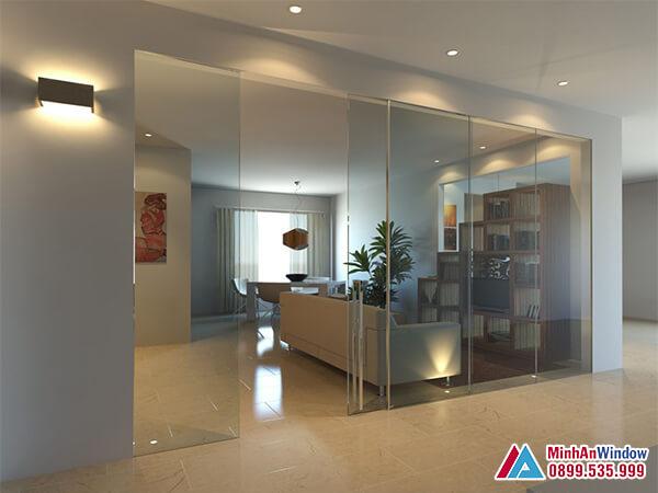 Cửa kính cường lực tại Thái Nguyến cho các phòng khách - Minh An Window cung cấp và lắp đặt