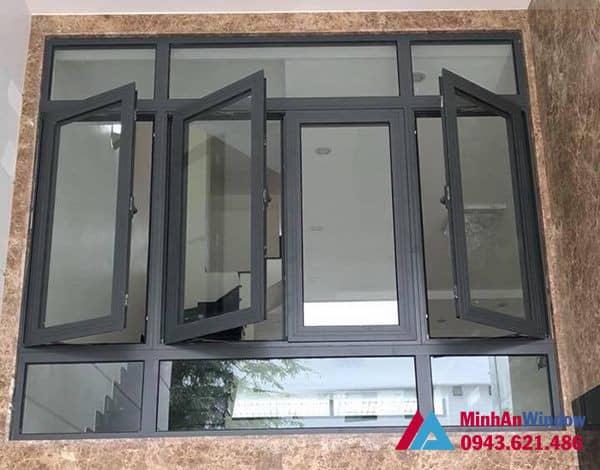 Mẫu cửa sổ nhôm kính 4 cánh Minh An Window lắp đặt cho khách hàng tại huyện Phúc Thọ