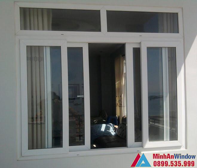 Mẫu cửa sổ nhôm kính đẩy ngang 2 cánh màu trắng do Minh An Window lắp đặt