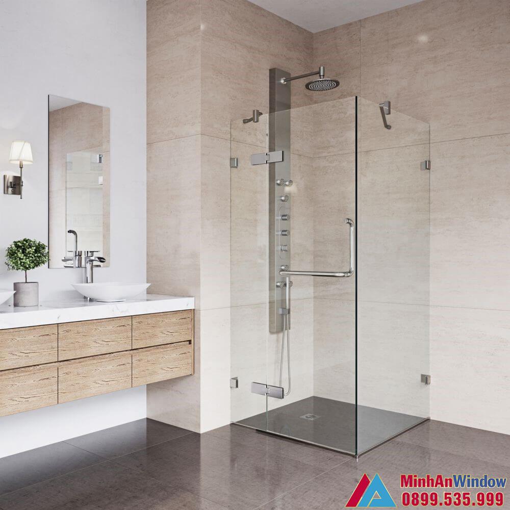 Mẫu vách kính phòng tắm nhỏ lắp cho khu nghỉ dưỡng